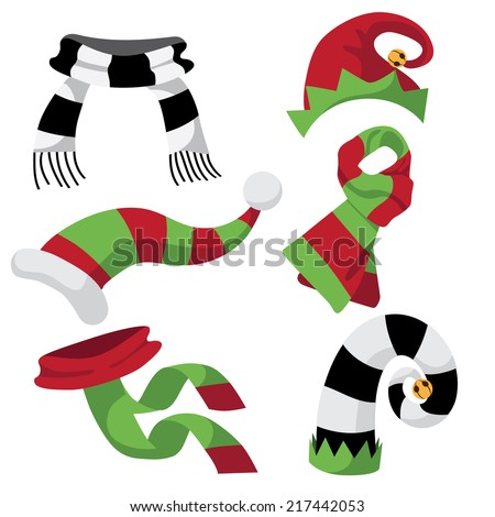 fun holiday hats and scarves EPS 10 vector - stock vector