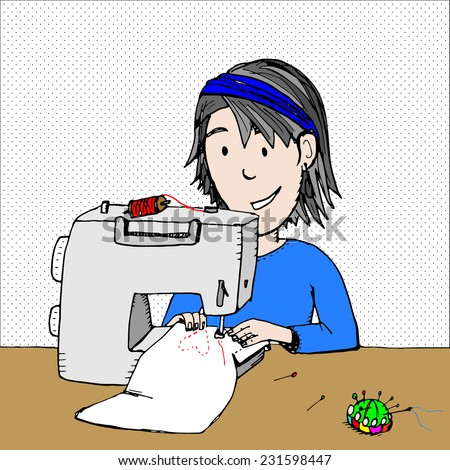 Fun illustration or card design of a woman sewing a heart onto fabric with a sewing machine - stock vector