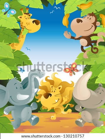 Fun Jungle Animals Border - stock vector
