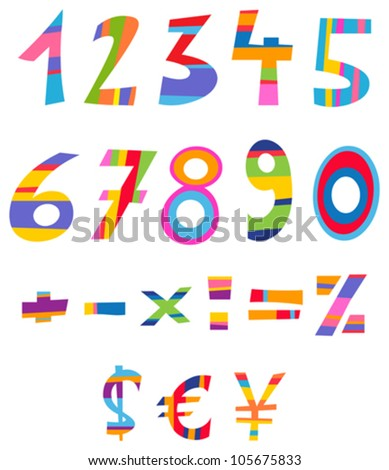 Fun numbers, math and currency signs - stock vector