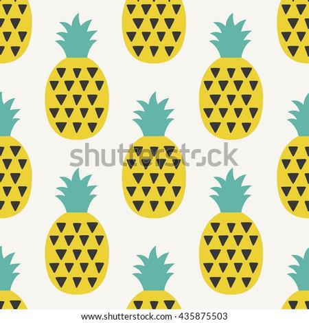 Fun pineapple seamless pattern vector illustration. - stock vector
