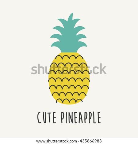 Fun pineapple vector illustration. - stock vector
