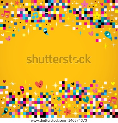 fun pixel squares background - stock vector