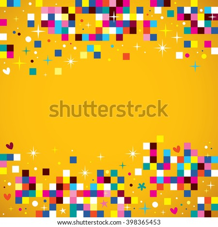 fun pixel squares background design element - stock vector