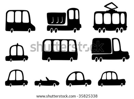 Fun silhouettes cars - stock vector