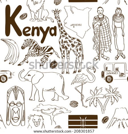 Fun sketch Kenya seamless pattern - stock vector