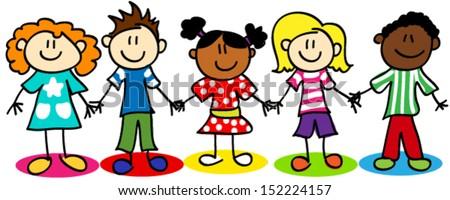 Fun stick figure cartoon kids, little boys and girls, ethnic diversity. - stock vector