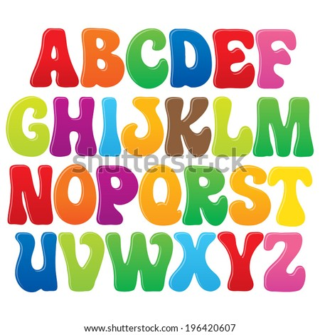 Fun vector font for kids - 3 Upper case letters - stock vector
