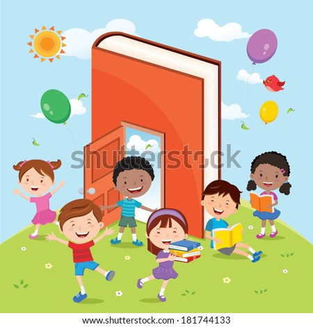 Fun with books and reading activities. Vector illustration of diverse kids having outdoor education activities. - stock vector