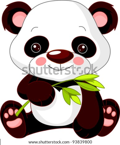 Fun zoo. Illustration of cute Panda - stock vector