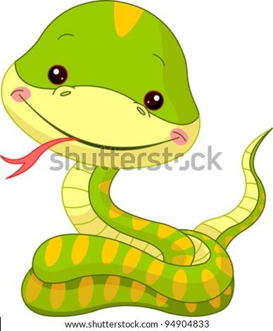 Fun zoo. Illustration of cute Snake - stock vector
