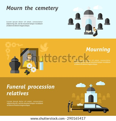 Funeral horizontal banner set with flat cemetery and mourning elements isolated vector illustration - stock vector