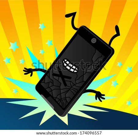 Funky Cartoon Dropped Smartphone Screen Cracked - stock vector