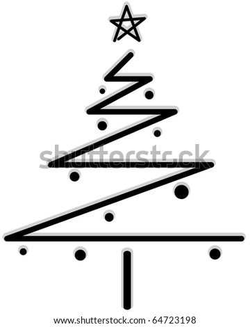 Funky Christmas Tree Design against white Background - stock vector