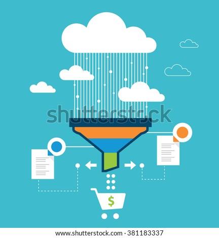 Funnel conversion, sales funnel, website optimization - stock vector