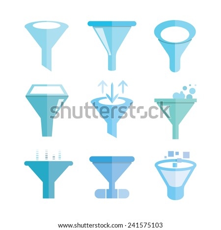 funnel icons, filter icons set - stock vector