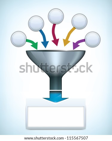 Funnel presentation template with space for different elements - stock vector