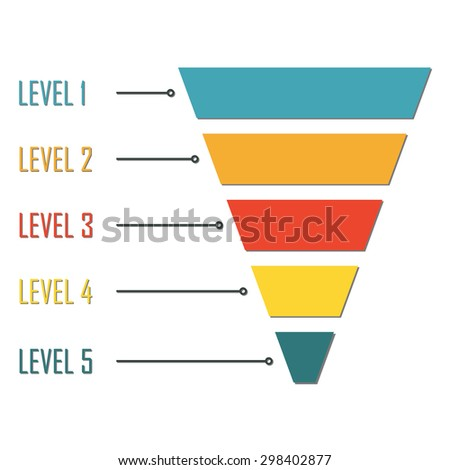Funnel symbol isolated on white background. Infographic or web design element. Template for marketing, conversion or sales. Colorful vector illustration. - stock vector