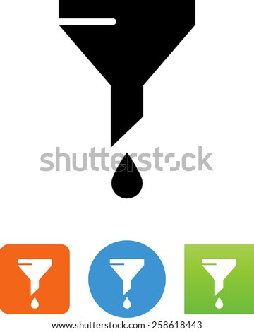 Funnel with droplet symbol for download. Vector icons for video, mobile apps, Web sites and print projects.  - stock vector