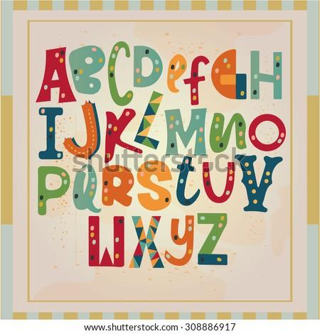 Funny alphabet - stock vector