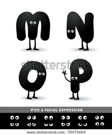 Funny alphabet. Easy to edit. Make your own funny word. - stock vector