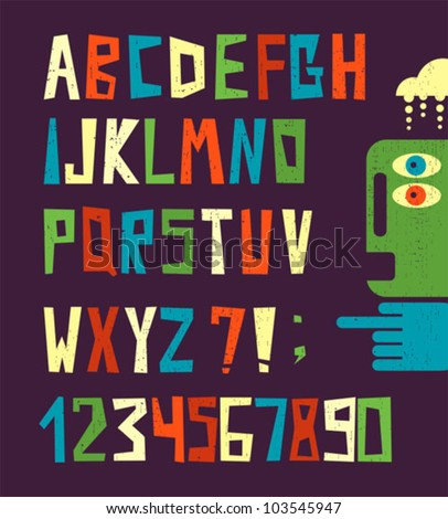 Funny alphabet letters with numbers in retro style. Cool vector illustration. - stock vector