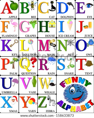 Funny alphabet with pictures for children, ALL LETTERS  - stock vector