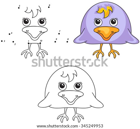 Funny and cute crow. Vector illustration for kids. Dot to dot game and coloring book - stock vector