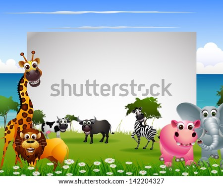 funny animal cartoon with beach background and blank sign - stock vector