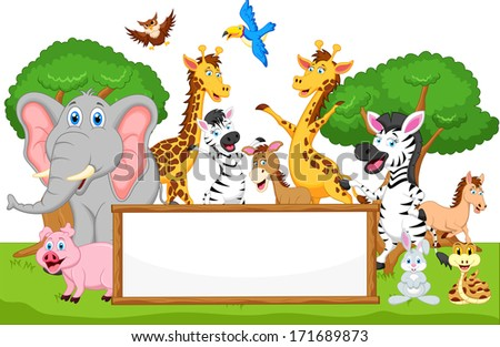 funny animal cartoon with blank sign - stock vector