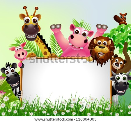 funny animal cartoon with blank sign and tropical forest background - stock vector