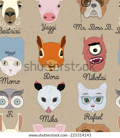 Funny Animal Seamless pattern - stock vector