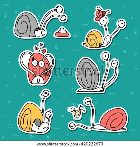 Funny animal story. Snail with emotions, set doodle characters isolated.  Design elements.  Cartoon pets stylish muzzle - stock vector