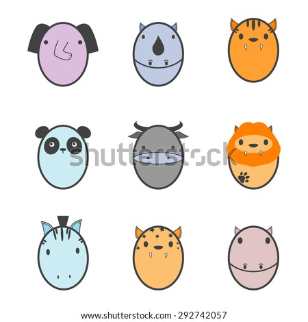 Funny Animal Vector illustration Icon Set - stock vector