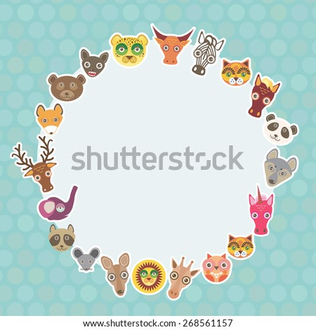 Funny Animals card template. White circle on light blue Polka dot background. Vector - stock vector
