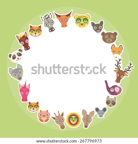 Funny Animals card template. White circle on light green background. Vector - stock vector
