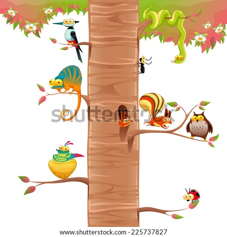 Funny animals on branches with white background. Cartoon and vector scene, isolated object.  - stock vector