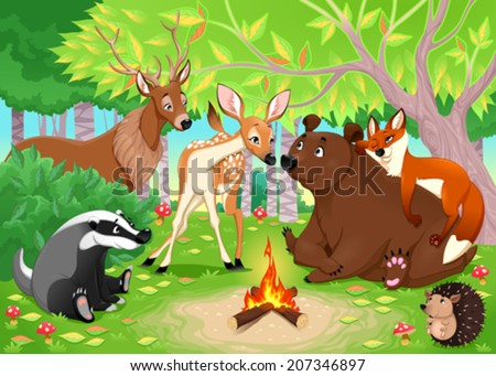 Funny animals stay together in the wood. Vector cartoon illustration - stock vector