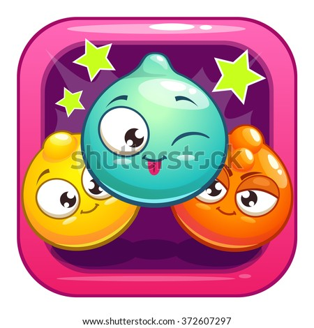 Funny app icon with cartoon jelly characters, vector gui element - stock vector