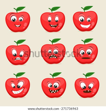 Funny apple character showing different facial expressions on beige background.  - stock vector
