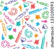 funny art seamless pattern with hand drawn elements - stock vector