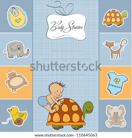 funny baby boy announcement card - stock vector