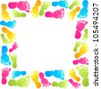 Funny baby foot prints vector frame - stock vector