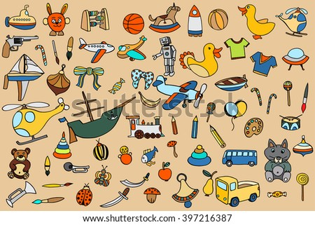 Funny baby toys set. Vector doodle collection of hand drawn icons for baby shower or scrapbook - stock vector