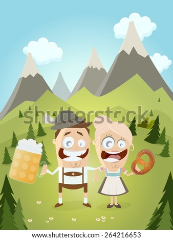 funny Bavarian couple with beer and pretzel  - stock vector