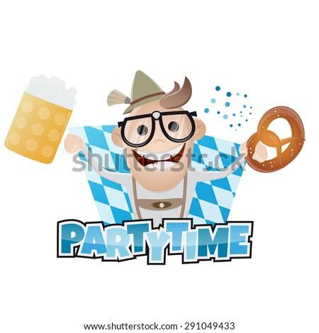 funny bavarian party man - stock vector