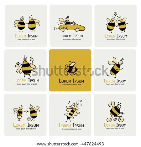 Funny bee collection, sketch for your design - stock vector