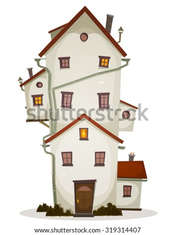 Funny Big House/ Illustration of a cartoon high big funny house, castle or manor, with lots of windows and outbuilding - stock vector