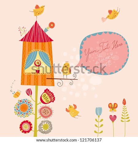 Funny bird nest - stock vector