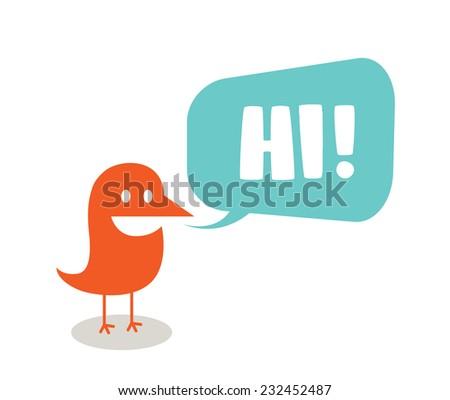 Funny bird symbolizing communication - stock vector